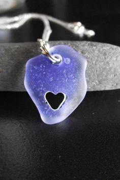 Sea Glass Jewelry - I HEART YOU - Seaglass Carved Heart Necklace. $43.95, via Etsy.