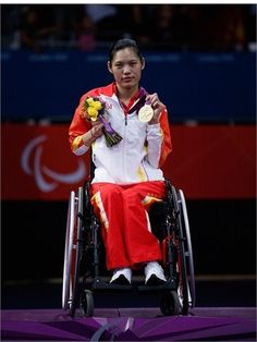 LiuJingof China receives her gold medal after winning the Women's singles - Class 2 category on Day 4 of the London 2012 Paralympic Games at ExCeL  /Photo/sport/General/01/42/55/970liu-jing-china-receives-her-gold-medal1425597  Related tags