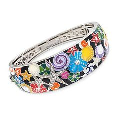 """Ross-Simons - Belle Etoile """"Starfish"""" Multicolored Enamel and .60 ct. t.w. CZ Bangle Bracelet in Sterling Silver. 7"""" - #885144"""