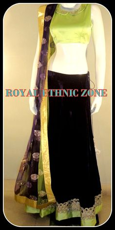 STYLE NO.215 BLACK LEHENGA WITH GREEN BLOUSE PRICE- 10,000/- FABRIC- NET, SATIN EMBROIDERY- HAND WORK