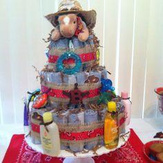 Western baby shower diaper cake
