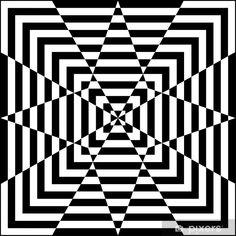 Motif géométrique noir et blanc Wall Mural Pixers We live to change Optical Illusions Drawings, Optical Illusion Quilts, Illusion Drawings, Art Drawings, Illusions Mind, Amazing Optical Illusions, Geometric Drawing, Geometric Art, Op Art
