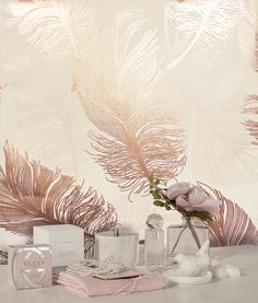Add a luxurious touch to any room with this feather wallpaper in metallic rose gold from Crown's Luxury Foil Wallpaper Collection at Go Wallpaper UK Bathroom Ideas Uk, Modern Bathroom Design, Bath Design, Bathroom Interior Design, Bathroom Photos, Bathroom Inspiration, Feather Wallpaper, Wallpaper Uk, Metallic Wallpaper