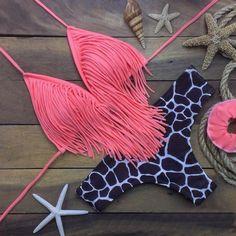 Pink Fringe Bikini Set