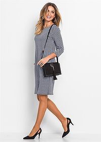Šaty tmavomodrá/biela vzorovaná Stanú sa • 14.99 € • bonprix Dresses For Work, Dresses With Sleeves, Bordeaux, Long Sleeve, Jersey, Style, Fashion, Houndstooth, Swag