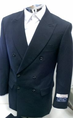 New Men's 100% Wool Super 140s Navy Blue DB (Double Breasted) Dress Suit