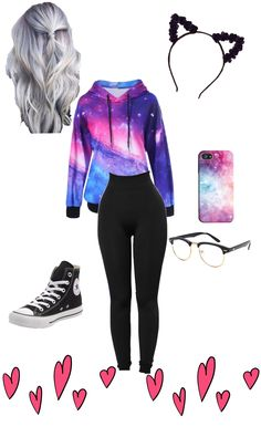 Cute galaxy outfit perfect for school Girls Fashion Clothes, Teen Fashion Outfits, Cute Fashion, Outfits For Teens, Cute Girl Outfits, Cute Casual Outfits, Pretty Outfits, Teenager Outfits, Galaxy Outfit