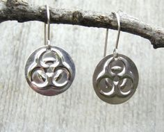 Biohazard Earrings -Sterling Silver - Science Jewelry - Geekery Nerd Jewelry - Toxic Biology Humor