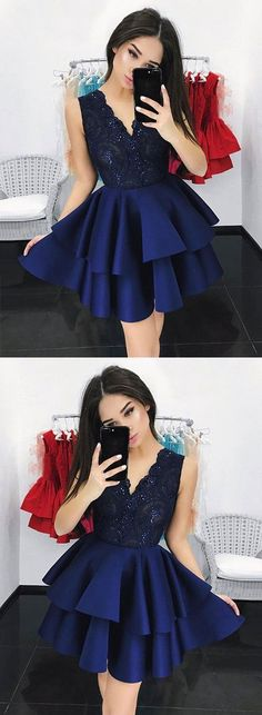 Dark blue v neck lace short prom dress,