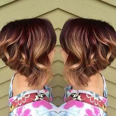 ❤ Балаяж на короткие волосы ❤   Использование этой техники делает цвет волос изумительным! В тренде медовые, карамельные, сливовые оттенки.