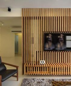 Check out this Contemporary-style HDB Living Room and other similar styles on Qanvast. Slat Wall, Small Room Bedroom, Living Dining Room, Powder Room Decor, Minimalist Living, Living Room Partition Design, Home Decor, Multifunctional Furniture Design, Bamboo Room Divider