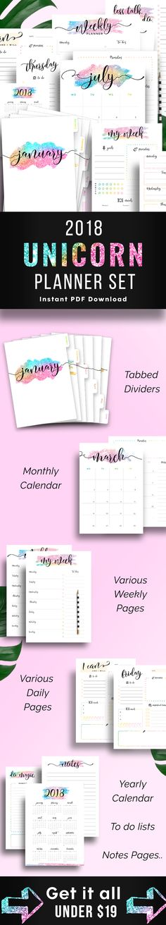 2018 Planner Printables - Unicorn printable set for 2018 - Monthly Planner 2018 Monthly Calendar Daily Pages Weekly Planners