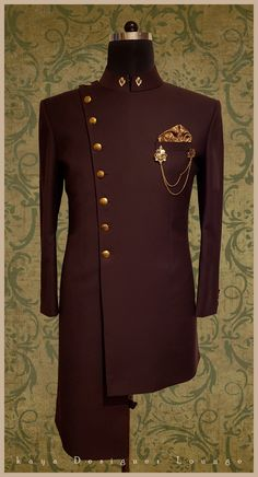 Security Check Required - Traditional Wear Achkan Brooch Wine Achkan Embroidered Sherwani Chikankari Sherwani Cowl Draped She - Sherwani For Men Wedding, Wedding Dresses Men Indian, Mens Sherwani, Wedding Dress Men, Sherwani Groom, Wedding Outfits, African Dresses Men, African Attire For Men, African Clothing For Men