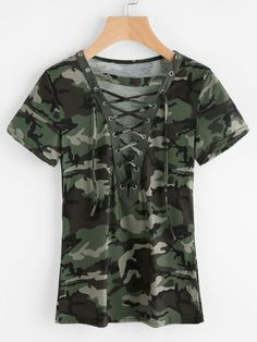 Romwe Camouflage Print Lace Up Front TeeL