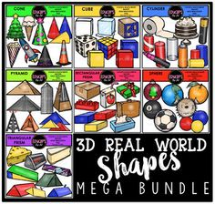 This is a collection of 7 sets of 3D real world images.The sets in this collection are: Cones, Cubes, Cylinders, Pyramids, Rectangular Prisms, Spheres and Triangular Prisms.The images in each set are:CONESChristmas tree, ice cream, party hat, popcorn cone, rocket, witch hat, traffic cone, 2 cone shapes in primary colors20 images (10 in color and the same 10 in B&W)CUBESsugar cube, ice cube, block, dice, rubix cube, 3 cone shapes in primary colors16 images (8 in color and the same 8 $20.00