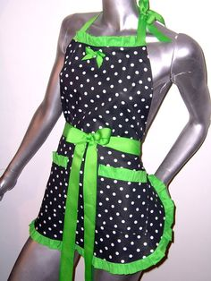 LIME GREEN Polkadots Pinup RetroLime Green by UnderTheVeil on Etsy, $39.99
