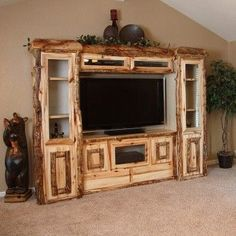Hand peeled rustic aspen log entertainment center home furniture, pallet fu
