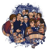 Would The Doctor take a selfie? I think he absolutely would, with the  exception of the War Doctor, who would think it was nonsense. This Doctor  Who art by Tom Kurzanski really has captured each Doctor's personality  mugging for the camera. The folks at TeeFury have sold out of this design,  but you can demand they bring it back here.