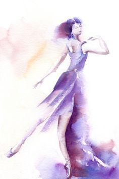 Ballerina Art Print from Watercolor Painting, Ballet Watercolour Art, Modern Wall art, Purple