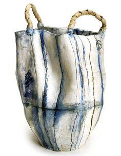 "Brenda Holzke - ""Indigenous baskets: The Wash"" - high fired stoneware Ceramic Bowls, Ceramic Pottery, Ceramic Art, Stoneware, Shibori, Cerámica Ideas, Hand Built Pottery, Keramik Vase, Paperclay"