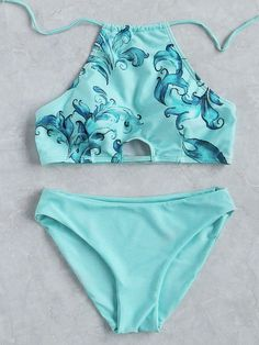 Turquoise Floral Print Halter Bikini Set