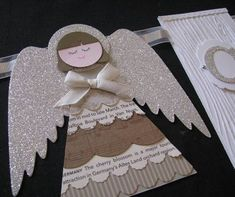 Angel Banners - Inspired from my gorgeous friend Beth Stewart. Made lots of these! Stampin' Up! Christmas Manger, 3d Christmas, Twelve Days Of Christmas, Christmas Gift Tags, Christmas Projects, Diy Arts And Crafts, Paper Crafts, Punch Art Cards, Handmade Angels