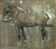 Cab Horses by Gaslight by Joseph Crawhall