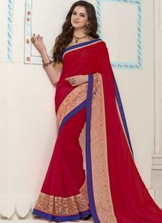 Red Georgette Zari Work Border Lace Work Banarasi Silk Designer Sarees http://www.angelnx.com/Sarees