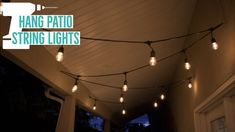 How to hang string lights in your backyard or patio is easy. This demonstration shows how to hang edison bulb string lights within a covered patio. Hanging Patio Lights, Balcony Lighting, Backyard Lighting, How To Hang Patio Lights, Porch String Lights, Small Balcony Decor, Tips, Lighting Ideas, Decks