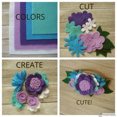 a Felt Flower Felt flower crown for baby to tween. Choose your colors, cut the shapes, create the flowers and assemble your crown. Just darling! Handmade Flowers, Diy Flowers, Fabric Flowers, Paper Flowers, Felt Flowers Patterns, Ribbon Flower, Felt Crafts Diy, Felt Diy, Felt Hair Accessories