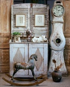 Rustic weathered toy horse cupboard and grandfather clock Decor, Patina Style, Custom Painted Furniture, Rocking Horse, Diy Shutters, Swedish Interiors, Clock, Grandfather Clock, Swedish Decor