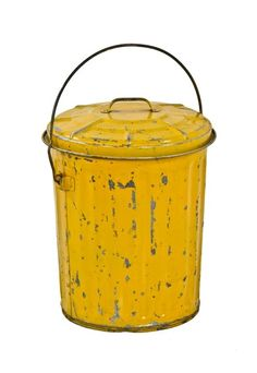 Urban Remains Chicago :: c. 1940's vintage industrial yellow enameled galvanized steel waste can with original rolled rim lid and drop handle - Old Industrial Objects & Furniture