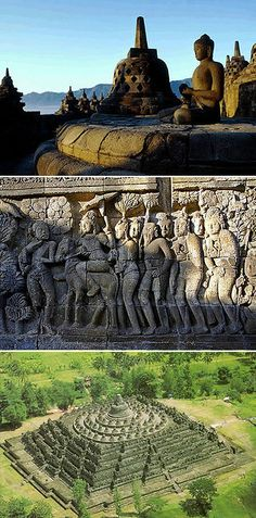 Ancient Borobudur, Indonesia -- Buddhist temples, or stupas, of ancient Borobudur.
