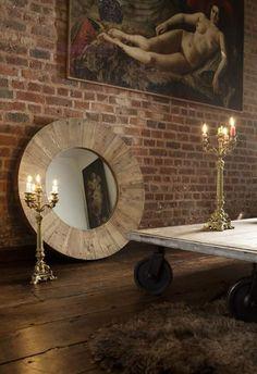 Lustro okrągłe Drewno Antyczne 100 cm Dekoracje Francuskie - cena | sklep internetowy Francuska Weranda