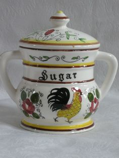 rooster and roses | ... ROYAL SEALY EARLY PROVINCIAL ROOSTER & ROSES SUGAR w/LID & CREAMER A+