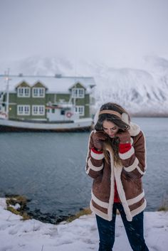 Gal Meets Glam Iceland Itinerary Part 2 -Abercrombie coat, Demylee sweater, J.Crew jeans, Max Mara scarf, J.Crew earmuffs &  Brown gloves