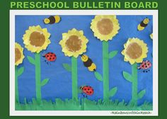 photo of: Spring Bulletin Board of Garden Flowers and Insects
