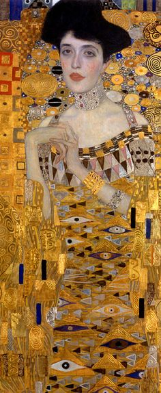 Painting by Gustav Klimt (1862-1918), 1907, Adele Bloch-Bauer's Portrait, oil, silver and gold on canvas. (detail)