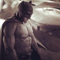 "Ben Affleck first look as BatMan in ""BatMan vs. SuperMan"". Photo: Zack Snyder May 2014"