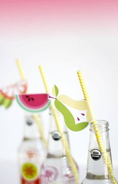 free printable fruit straw flags - make a summer party extra special with these free printable fruit straw flags