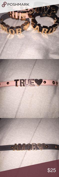 BCBG affirmation bracelets BCBG Affirmation bracelets. Set of 4!!! Barely worn. LOVE- FEARLESS-TRUE-AMOR BCBGeneration Jewelry Bracelets