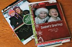 Creating yearly coffee table books with the picture Christmas cards you receive -- cute, easy, & inexpensive!!
