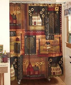Simplify Primitive Country Sunflower Red House Willow Tree Bath Shower Curtain