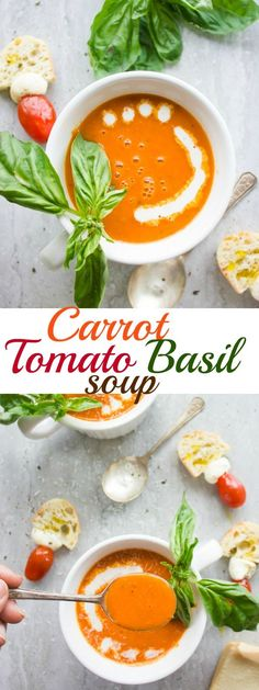 Luscious Carrot Tomato Basil Soup. This soups doesn't taste like marinara or carrots--it tastes like a sweet delicate tomato and basil soup that's seriously delicious and luscious! It all happens in a sheet pan in the oven and no fuss or cooking needed! Easy yummy comfort food! www.twopurplefigs.com