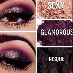 Younique's eye pigments in Sexy, Glamorous, and Risque. Try it! Youniqueproducts.com/shyannelindroos