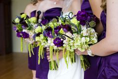 purple and green wedding flowers