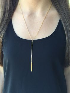 Lariat Necklace Y Necklace Gold Lariat Gold Y by TheGlitteredGal