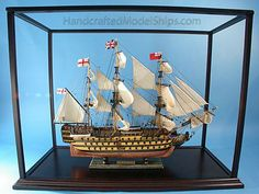 """Rosewood Display Case 34""""L x 6""""W x 13""""H Display Case For Model Ships Beach Decor Handcrafted"""