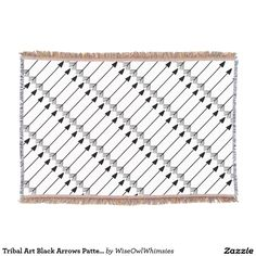 Tribal Art Black Arrows Pattern Trendy Designs, Black and White, Customize background Color, Throw Blanket