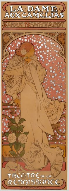La Dame Aux Camelias Sarah Bernhardt Mucha, 1896 - original antique advertising poster by Alphonse Mucha (Alfons Maria Mucha) for La Dame aux Camelias play based on a novel by Alexander Dumas, starring the famous French actress Sarah Bernhardt, listed on AntikBar.co.uk